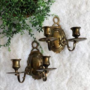 Brass wall candleholders